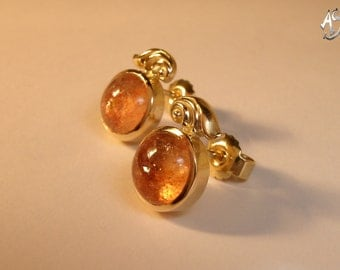 Gold Stud Earrings, Sunstone
