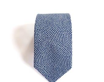 Last one** Nami Dotted Blue Japanese Men's Tie, Skinny Tie