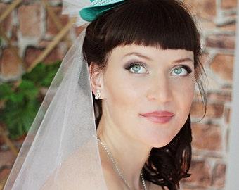 Mini Top Hat - Wedding Top Hat -Tea Party Hat - Bridal Fascinator - Turquoise Mini Top Hat - Bridal Head Piece -Small top Hat