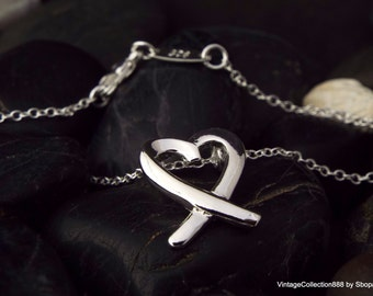 Pendant with chain in 925 Sterling Silver Tie Heart