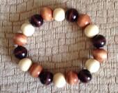 Earth-Tone Wood Bead Bracelet