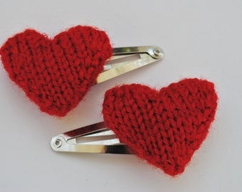 Knitted Heart Hair Clip in Red