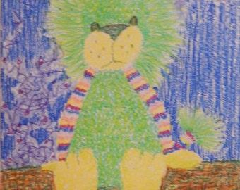 Plush Toy Green Lion Crayon  Drawing 18 x 12