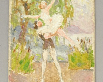 Dancers Landscape Painting Vintage Dancing Ballerinas Mini Oil Painting Russian Artist Signed Nikolai Becker Fine Art