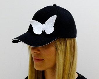Black Baseball Cap with Butterflies, Baseball Cap, Baseball Hat, Women Baseball Hat, Sun Hat, Women Baseball Cap, Cotton Baseball Hat, Cap