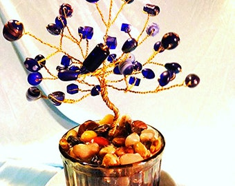 Blue 'Divine Sky' Crystal Tree with Clear Base ** Table Tree Figurine ** Wire Twisted Gem and Crystal Tree ** Decorative Tree ** Tiny Tree *