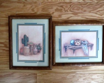 Southwestern Home Decor Southwestern Prints Vintage Home Interior Homco Picture Frame Cactus Picture Navajo Home Decor Aztec Home Decor