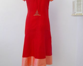 Gown silk red & fuxia / Red - silk dress fuxia