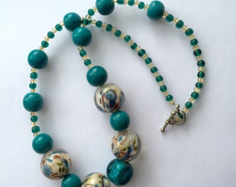 Beaded Necklace in Turquoise Tones