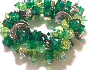 Green Cluster Bracelet with Silver effect Charms
