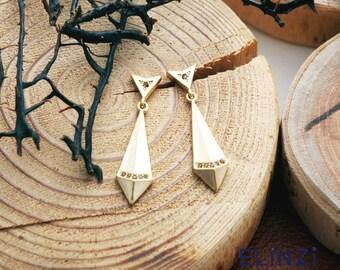 Arrowhead earrings(ETS031A(Y)) / matte yellow gold plated