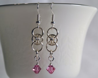 Celtic Chain Maille Earrings with Rose Pink Swarovski Crystals