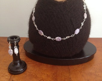 Charoite and Quartz Necklace and Earrings Set with Sterling Silver Wire
