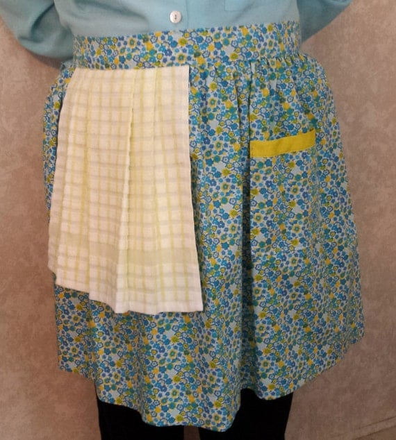 Blue with yellow flowers apron half apron apron with towel bbq