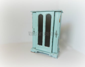 Shabby Chic Jewelry Box, Vintage Jewelry Box, Blue Jewelry Box