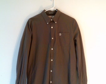 White Embroidered Penguin on Chocolate Brown with White Stipes Button Up Large Oxford Shirt, Tag: Penguin by Munsing Wear
