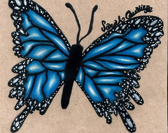 Original Blue Butterfly Drawing
