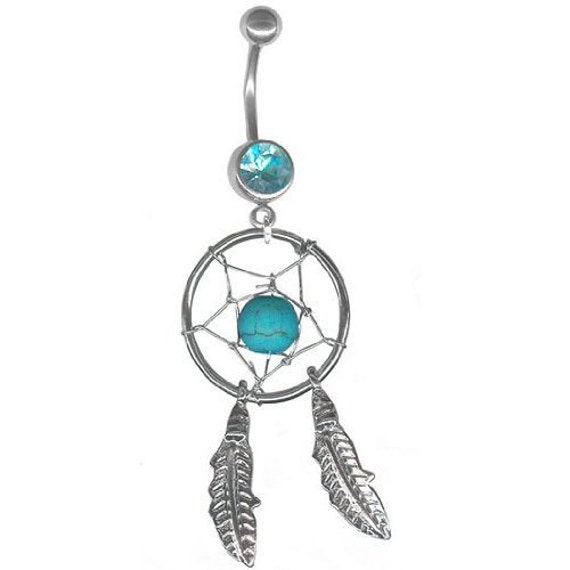 dream catcher belly ring multiple colors by prettiijewels