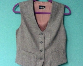 Gray Wool Tailored Vest