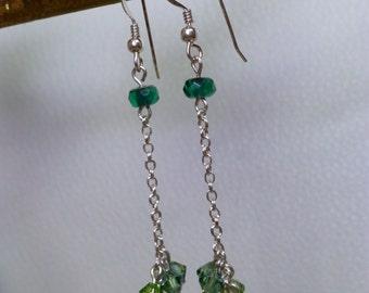 Green Sparks Czech Glass and Swarovski Crystal Dangle Earrings