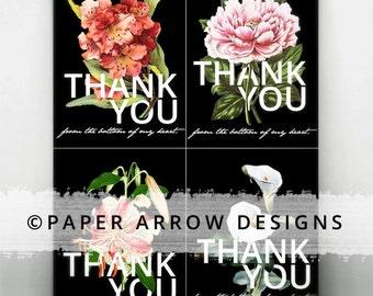 Vintage Floral Thank You Cards | set of 4