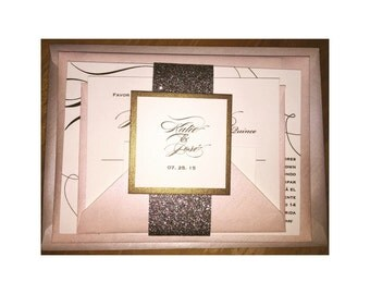 Gold and Silver Glitter Invitations and Calligraphy
