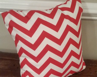 Red and White Chevron Pillow Cover - Indoor / Outdoor