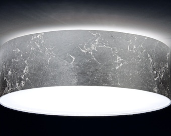 Ceiling lamp, D.40 cm, silver leaf optics