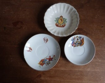 Royal Commemorative China, a 1953 Coronation dish, a 1937 Coronation saucer and a Royal saucer.