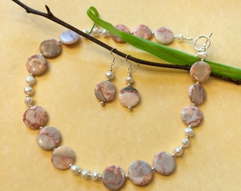 Pink Jasper, Freshwater Pearl, and Sterling Silver Necklace and Earrings Set