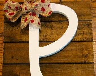 Wooden Wall Hanging with Painted Letter and Bow