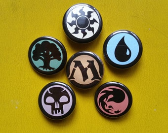 Magic The Gathering set of 6 pin back buttons 1.25""