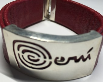 Peruvian Silver Bracelet with Red Leather Made in Peru