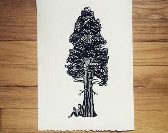 The Reading Tree // Handmade Linocut Print