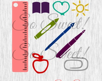 Back to School SVG / DXF Teacher Educator School Ruler Book Heart Sun Paperclip Apple Crayon Pens Cut Files for Silhouette Cricut SCAL svg