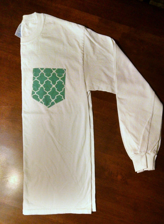 Custom pocket long sleeve t shirt unisex adult by for Custom t shirts with pockets
