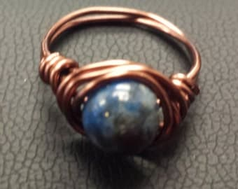 WIRE WRAPPED RING Lapiz Lazuli in Antiqued Copper Handmade