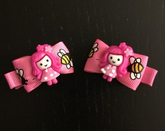 Doll Bow Hair Clips (2 pack)