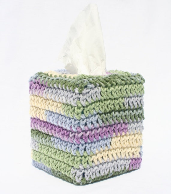 Decorated Tissue Box: Crocheted Tissue Box Cover Decorative Tissue By