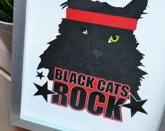 Black Cats Rock Print, Rescue Cat, Adopt Don't Shop, Cat Lover, Cat Lady, Meow, Black Cat