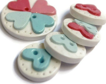 Heart button sewing button polymer clay buttons handmade buttons sewing supplies clothing accessories homemade gifts  pinc hearts set of (5)