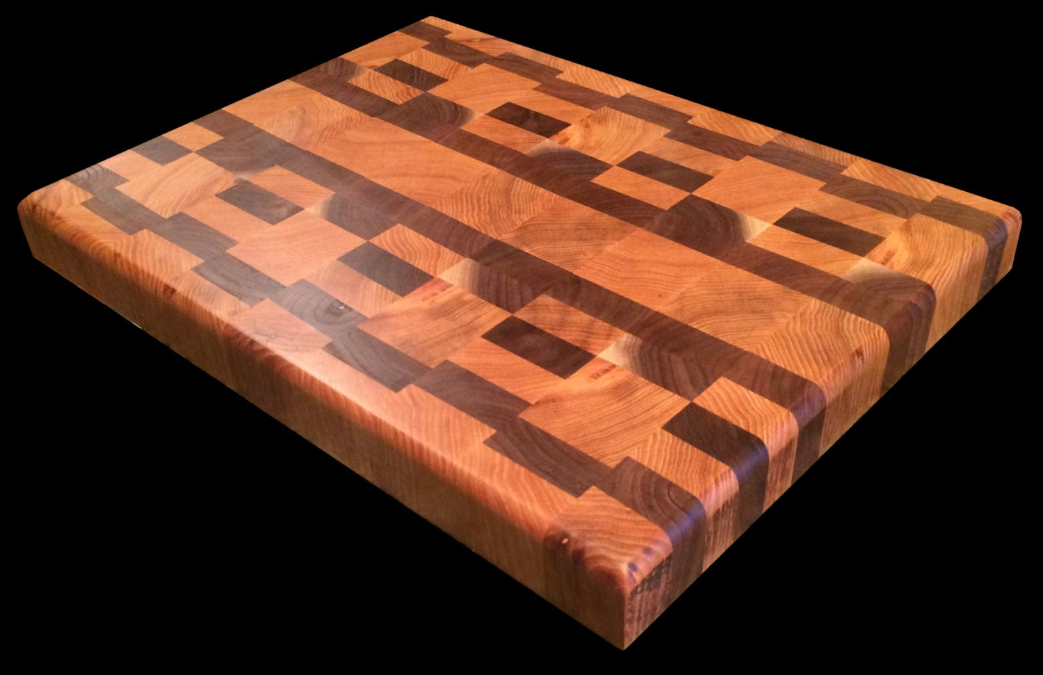 end grain butcher block cutting board by foxenwood on etsy