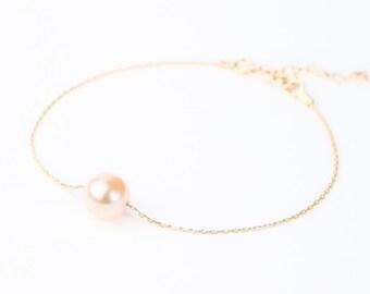 Peach Gold Pearl Bracelet - Bridal Jewelry Pearl - Bridesmaid Pearl Bracelet - Single Pearl Bracelet - Simple Pearl - Floating Pearl