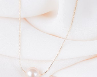 Peach Gold Pearl Necklace - Swarovski Pearl - Single Pearl on Gold Chain - Simple Pearl Necklace - Floating Pearl - Bridesmaid