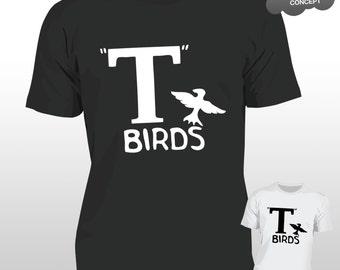 T Birds T-Shirt Grease Black Jacket T-Bird John Travolta Transfer Stag Night Mens