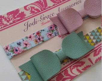 Mint green or pink faux leather / vinyl bow - elastic headband- toddler headband - newborn headband -baby headband - infant headband