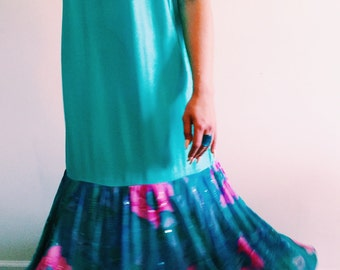 Vintage Turquoise Drop Waist Floral Flounce Dress