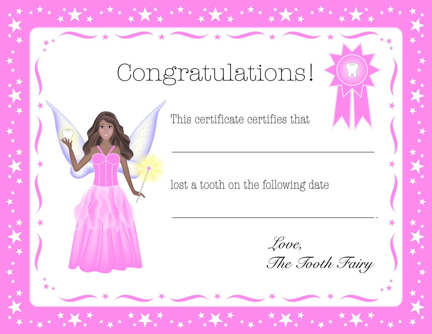 It's just an image of Gorgeous Tooth Fairy Certificate Printable Girl