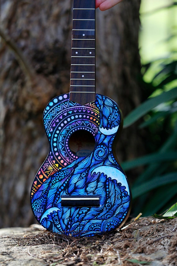 Hand Painted Ukulele Turtle Design by SaltyHippieArt on Etsy Ukulele Paint Designs
