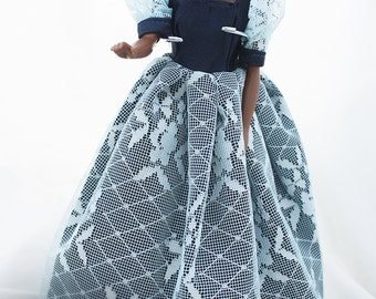 """Handmade Barbie Dress, """"Borealis Blue"""" Lace Evening Gown, DRESS ONLY, Barbie Doll Clothes, Fashion Doll Clothes #0701"""